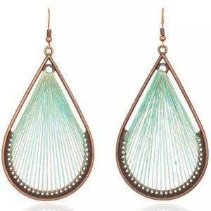 Boho Earrings Large Water Drop String Woven